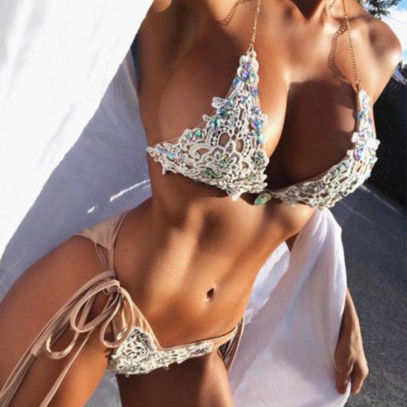 NWOT Gorgeous Jeweled Nude Lace Bikini